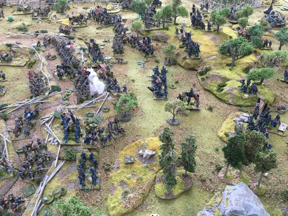 Union troops assaulting rebel held earthworks