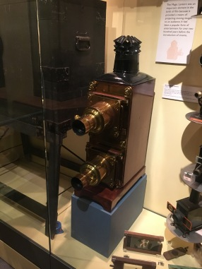 An 1870s magic lantern slide projector