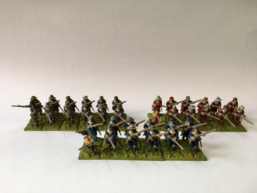 Photo of Three painted Warlord Games firelock regiments