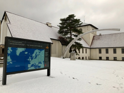 Photo of Viking Ship Museum entrance in the snow
