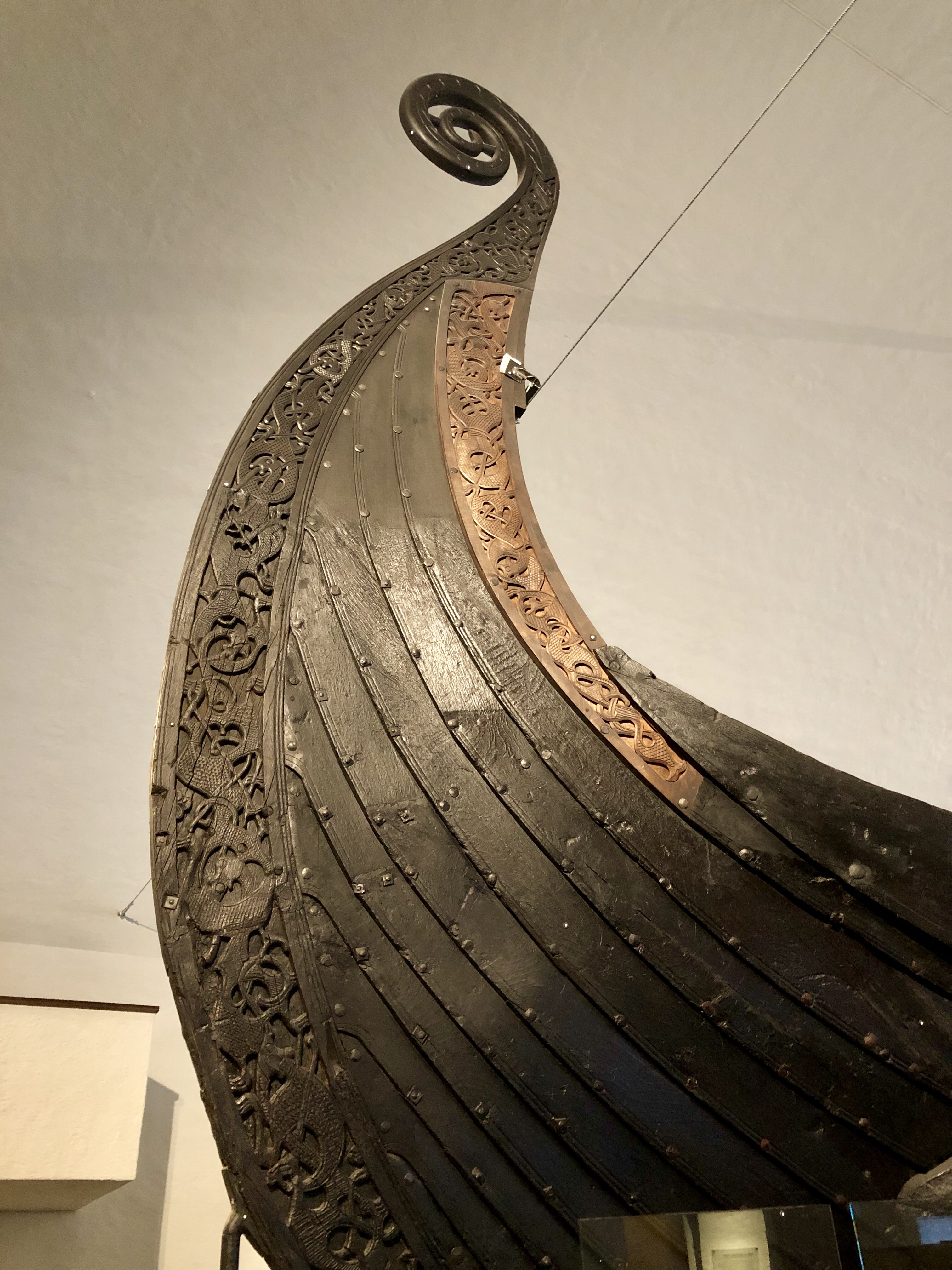 Photo of the prow of the Oseberg ship