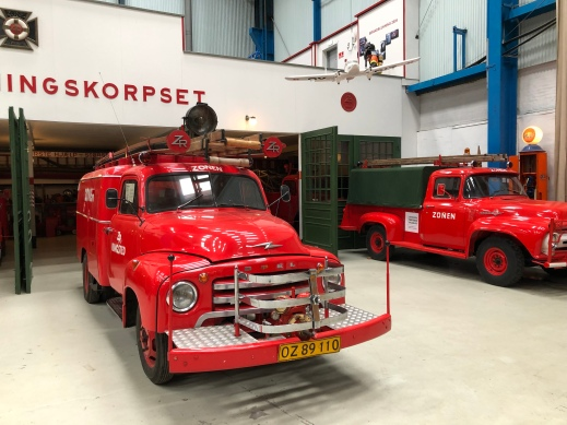 A fire engine outside the recreated fire station
