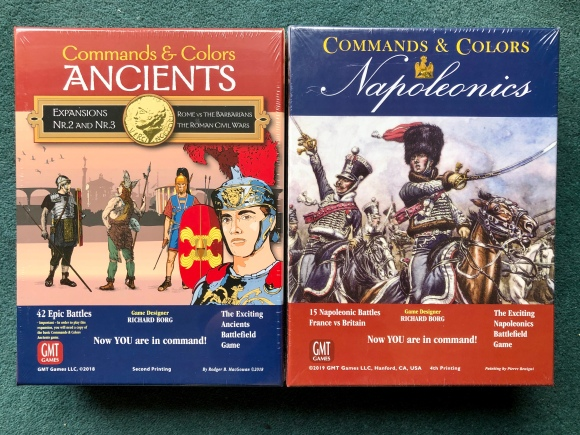 Commands and Colors Napoleonics Game and Ancients Expansion in their boxes